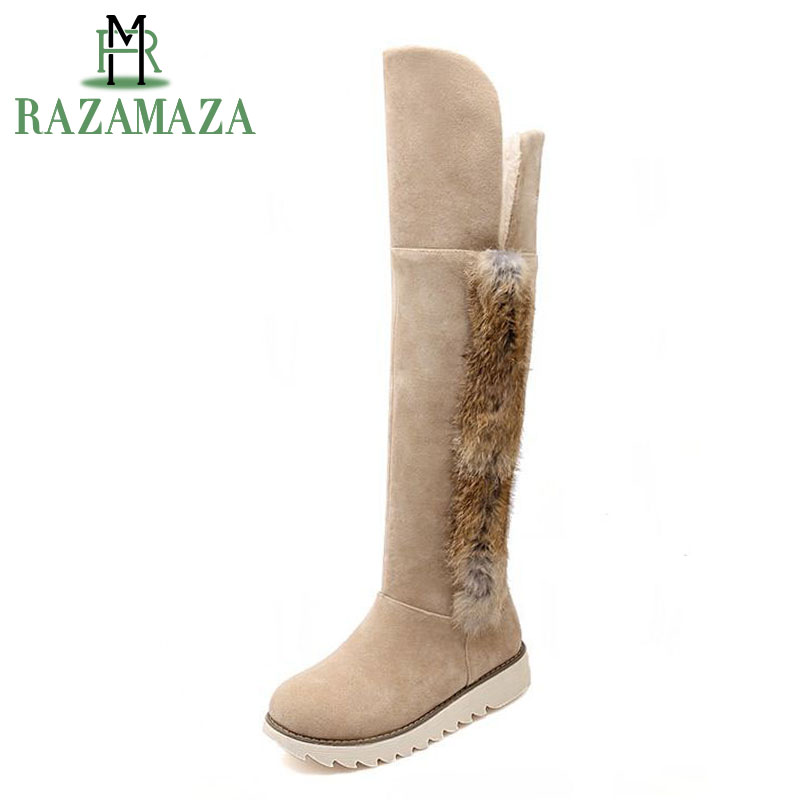 RAZAMAZA Women Warm Plush Inside Winter Snow Boots Female Over Knee Flat Shoes Women Thick Fur Warm Botas Footwear Size 34-43 цены онлайн
