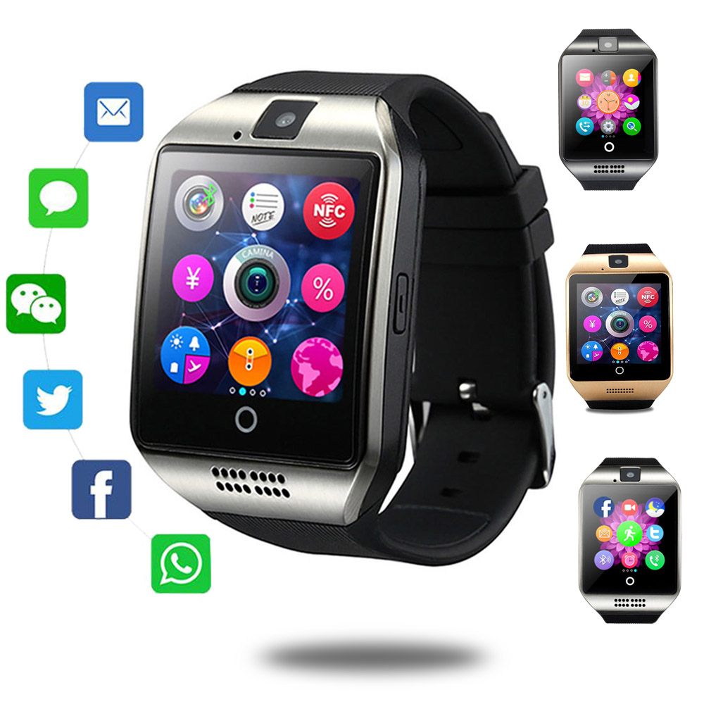 Q18 Smart Watch Fitness Tracker Touch Screen APP Download Camera Dial /Call Bluetooth Bracelet for Android Phone VS DZ09 X6 Y1 image