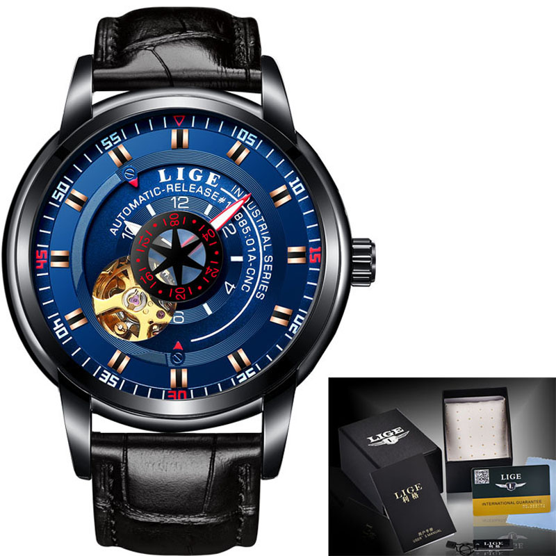 LIGE Mens Watches Top Brand Luxury Automatic Mechanical Watch Mens Sports Military Waterproof Leather Clock Relogio Masculino 2018 top luxury brand men automatic mechanical watch leather mens watches sports military wrist watches waterproof male clock