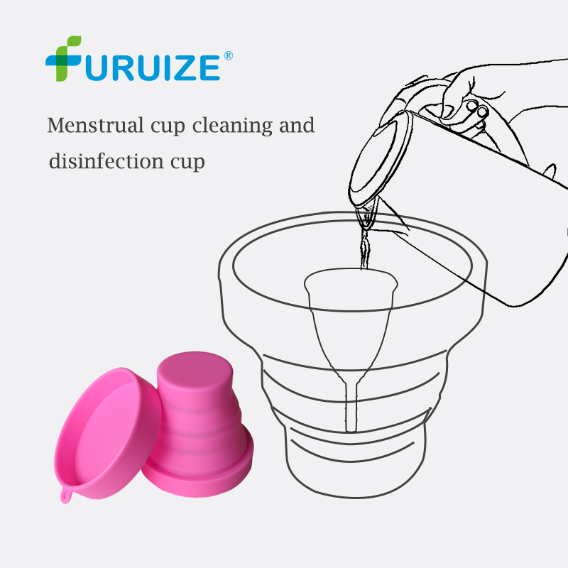 Menstrual Sterilizing Cup Collapsible Silicone Cup flexible to clean Menstrual Cup Recyclable Camping Foldable Sterilizer Cup foldable cup rack
