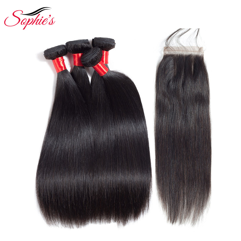 Sophies Straight 4 Bundles With Closure Brazilian Hair Weaves Non-Remy Natural Color Human Hair Bundles Extensions