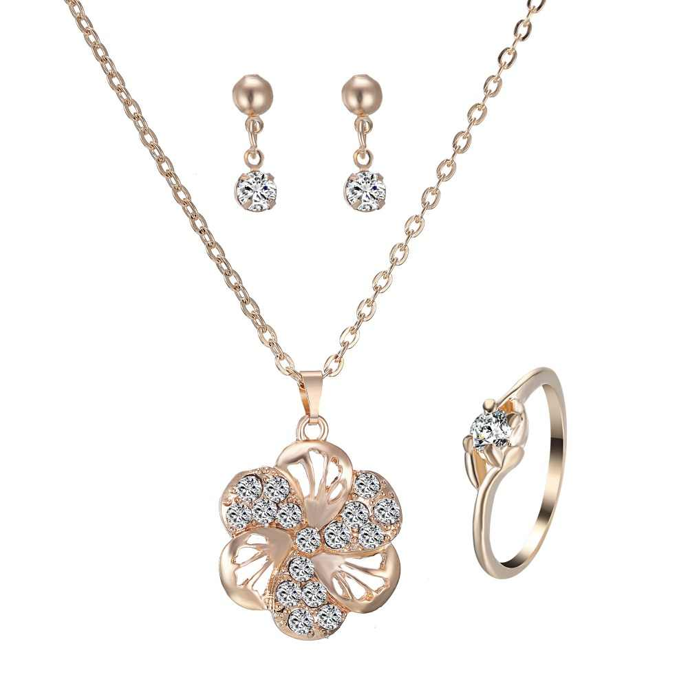 Rinhoo Flower Necklace Earring Ring Jewelry Set Female Gold Bijoux Set Crystal Jewelry Elegant Lady Accessories