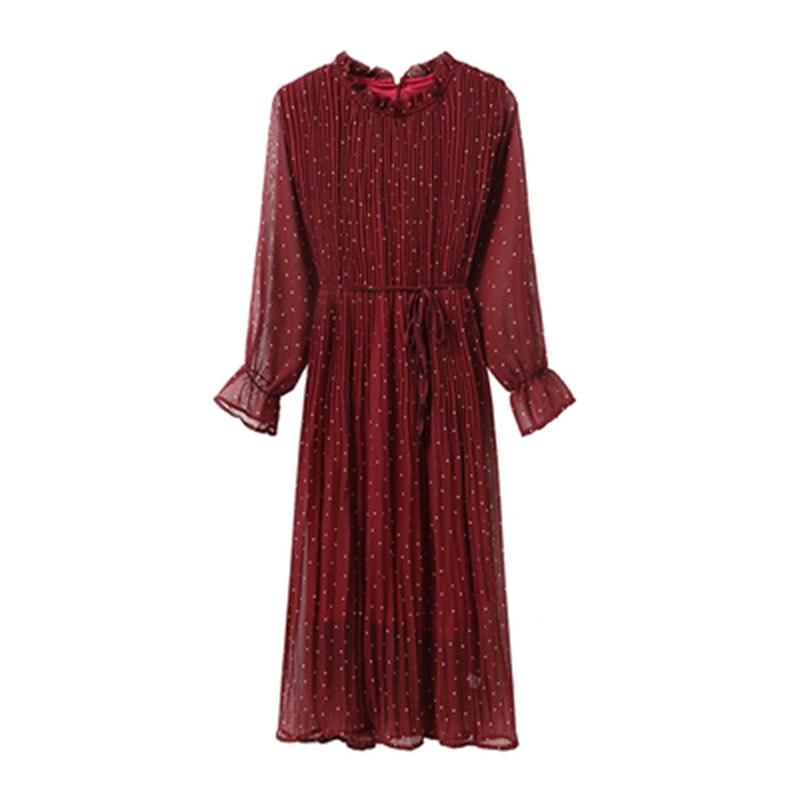 Chiffon High Elastic Waist Vintage Summer Dress A-line Style Women Full Sleeve Flower Plaid Print Dresses Slim Dress 24 Colors 8