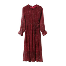 chiffon High Elastic Waist Vintage summer Dress A-line Style Women Full Sleeve Flower Plaid Print Dresses Slim Dress 24 Colors 8 western style color block broad stripe print elastic waist chiffon maxi dress for women