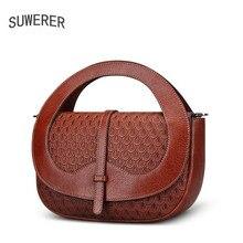 SUWERER2017 новые высококачественные модные роскошные брендовые сумки натуральная кожа сумка счетчик подлинной, Женский известных брендов