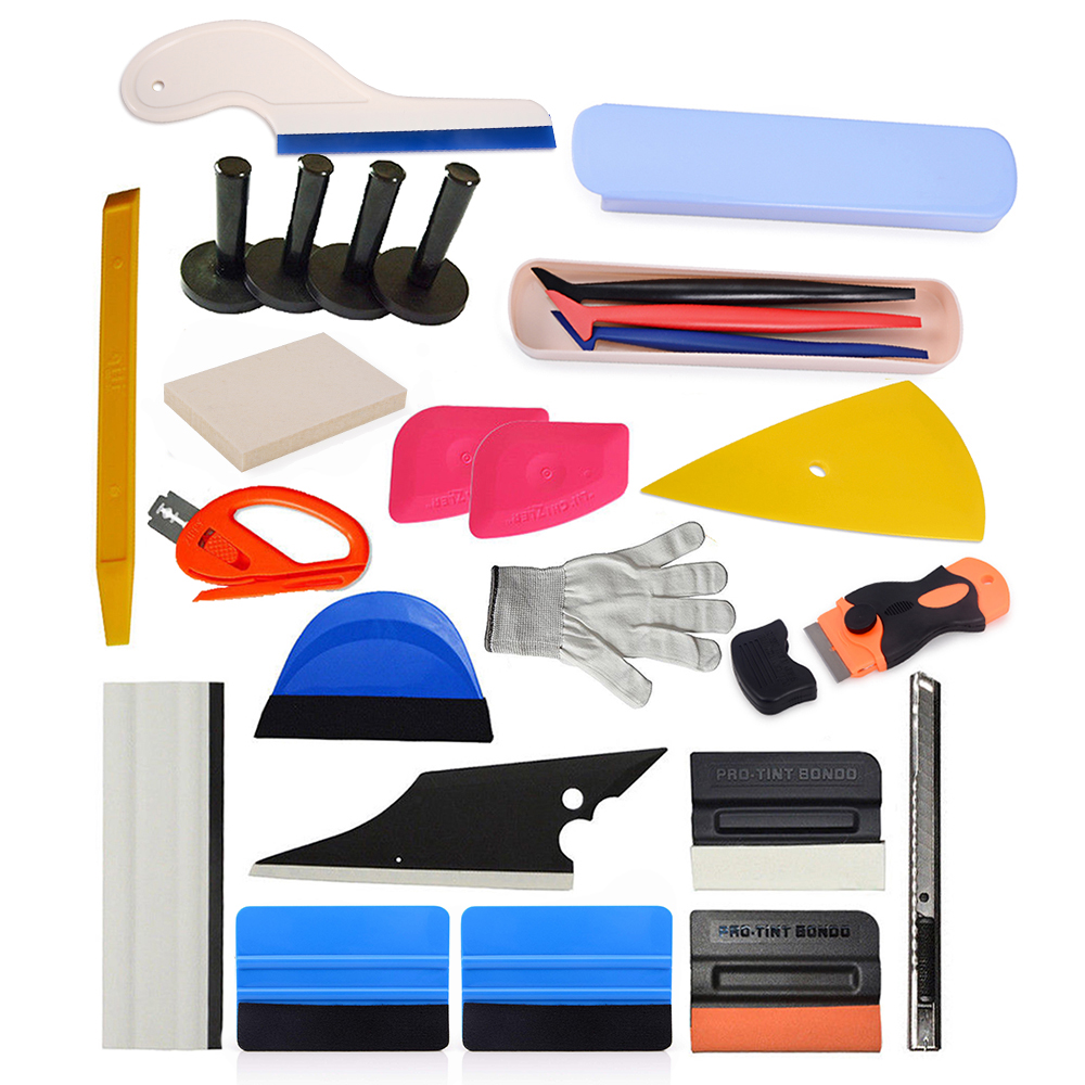 EHDIS 24 pièces accessoires de voiture à moteur Film de vinyle emballage de voiture Multi outil ensemble fenêtre teinte emballage raclette support magnétique couteau de coupe