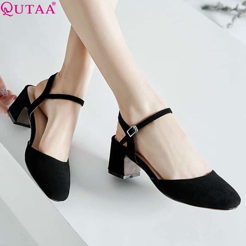 QUTAA 2020 Women Pumps Flock Square High Heel Women Shoes Platform New Fashion Buckle Square Toe Elegant Ladies Pumps Size 34-43