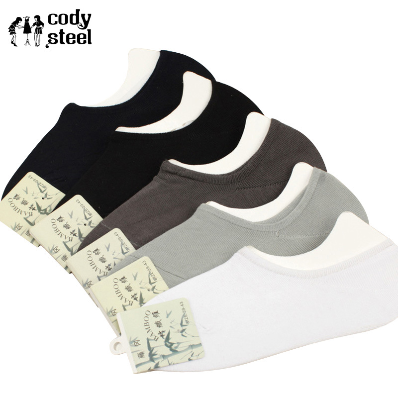 Cody Steel Summer Mens Socks Bamboo Solid Color Mens Invisible Socks All-Match Fashion Dress Socks Man 5pairs/lot
