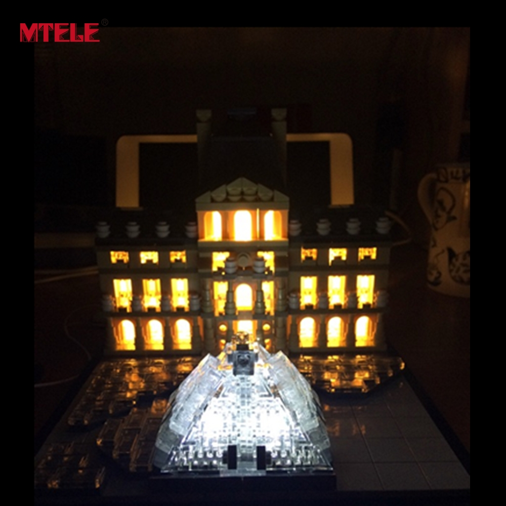 Mtele бренд со светодиодной подсветкой комплект для Архитектура louvre здания Конструкторы совместимые с <font><b>LEGO</b></font> 21024 Kid Игрушка