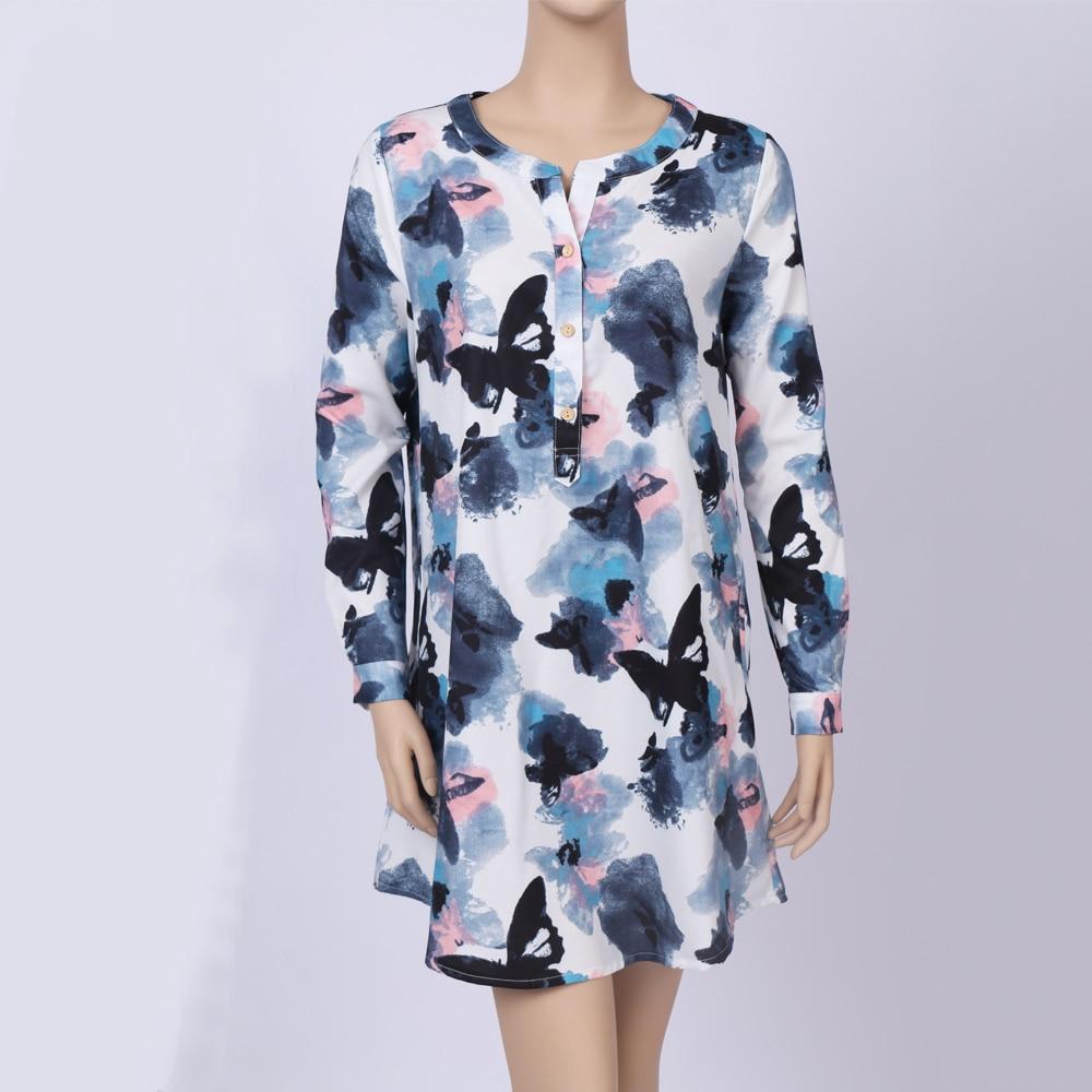 5b7d4e1ce8b FEIBUSHI White Butterfly Flower Long Sleeve Blouse Summer Women Chiffon Blouse  Floral Print Long Tops Shirts Plus Size 5033-in Blouses   Shirts from  Women s ...