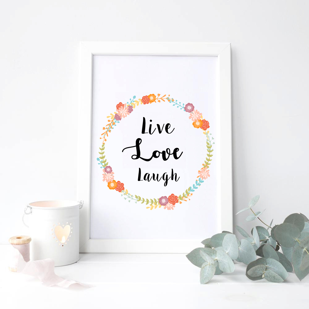 Live Love Laugh Quote Wall Art Poster Live Love Laugh Canvas Print Quote Wall Picture