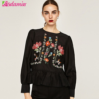 Black White Flower Embroidery Blouses And Shirts Fashion Tunic Top Femme Chic Butterfly Embroidery Ruffle Blouse