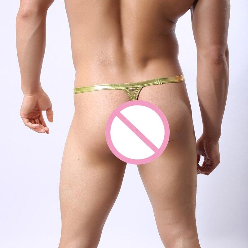 AIIOU Sexy Mens Faux Leather Bikini Underwear Briefs Gay Thong Gold Silver Sissy Panties Slips Jockstrap Pouch Underwear Briefs