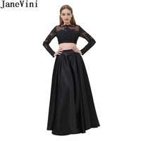 JaneVini In Stock Black Girls Prom Dresses 2 Two Pieces Lace Long Sleeves Beadings Women Elegant Bridesmaid Dresses For Weddings