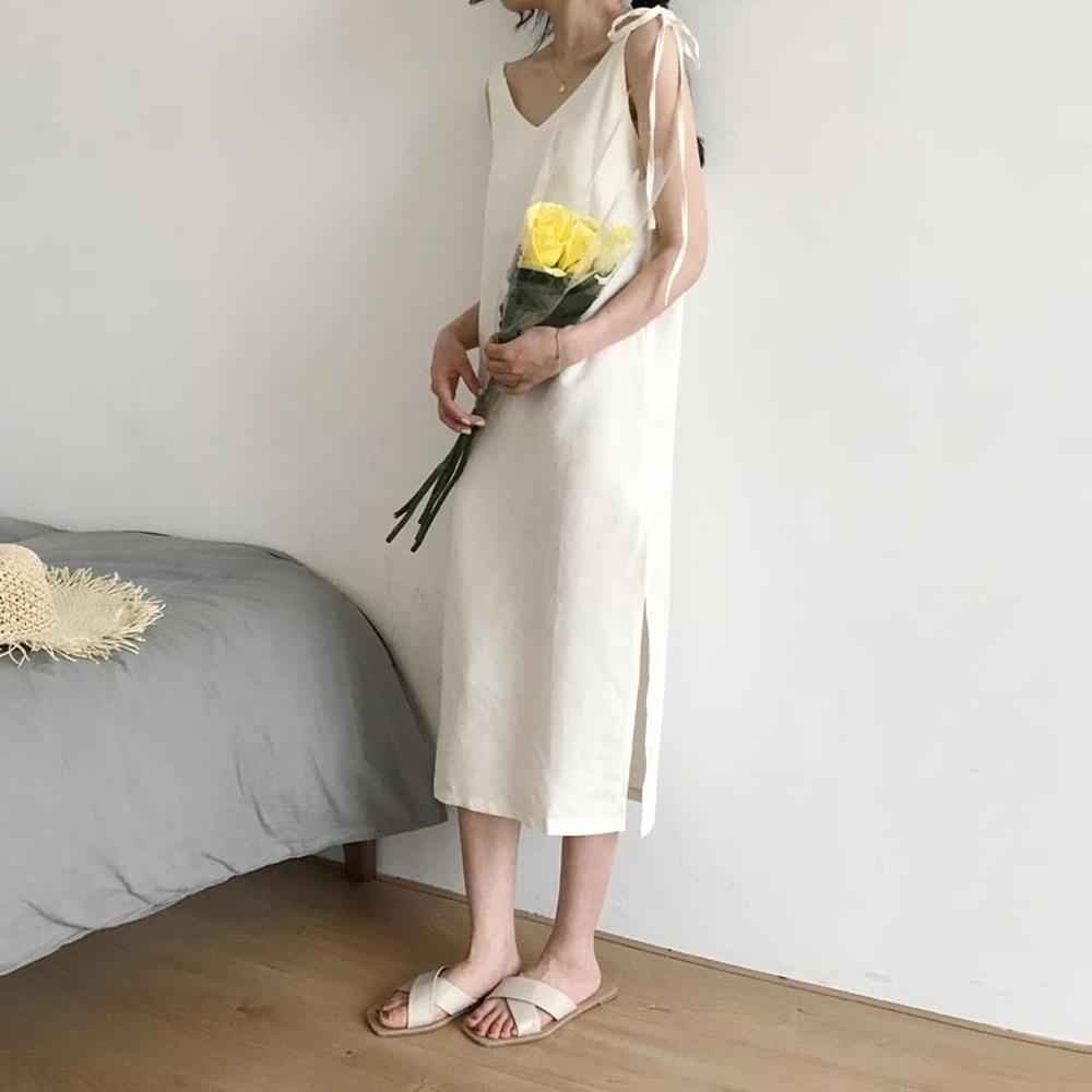 f45dbb929cb 2018 Summer New Women Fashion Korean Split Linen Dress Spaghetti Strap Dress