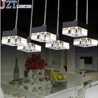 M Best Price 3 Head Creative Led Restaurant Crystal Pendant Light Square High Grade Aluminum Bar