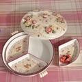 Malla cubierta de protección del medio ambiente europeo de cerámica dulces plato de fruta seca té mesa de escritorio adornos caja de dulces plato de fruta