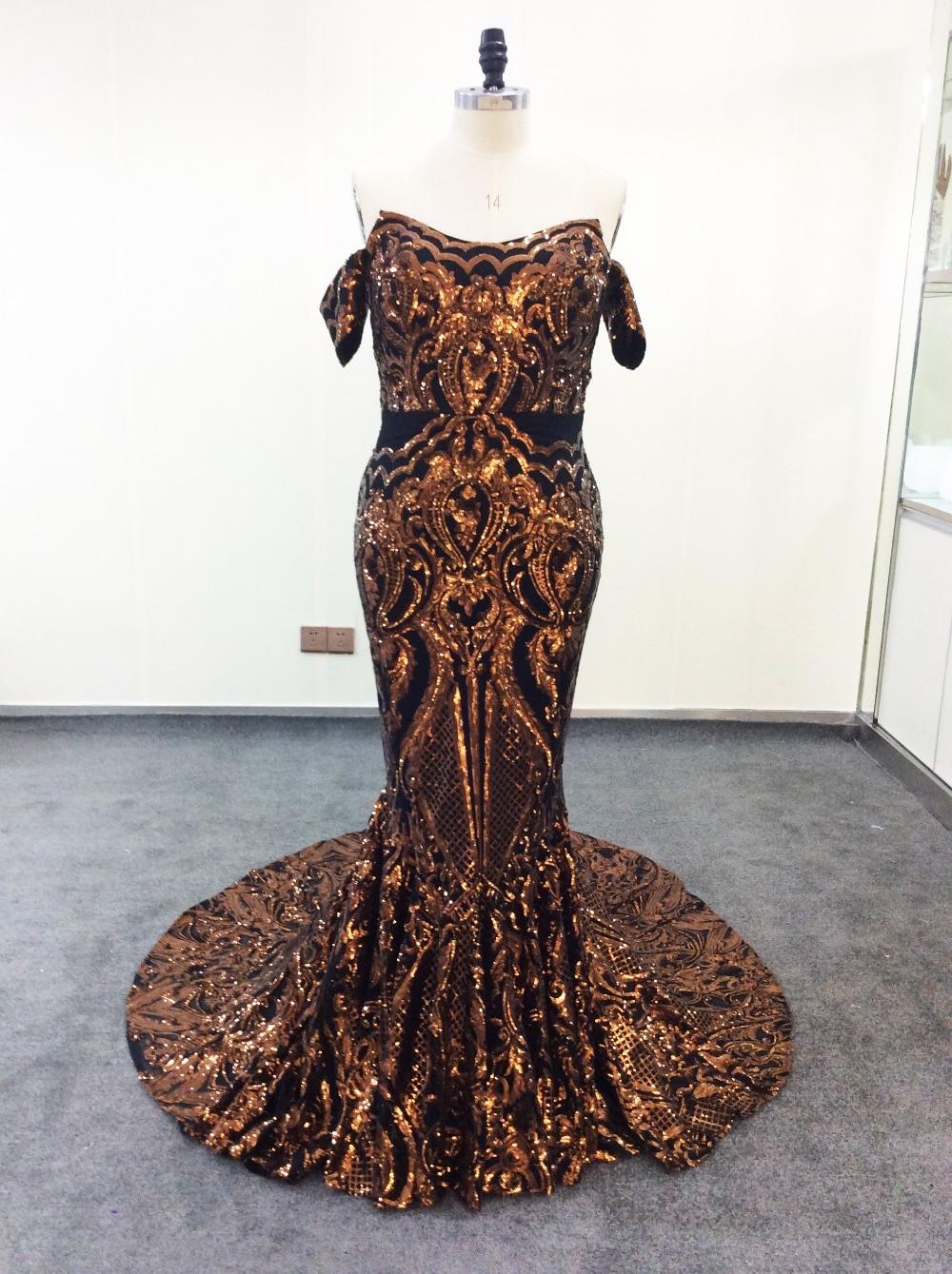 Long Evening Dress Golden Sequin Bling Off Shoulder Black Sexy Women Saudi Arabic Formal Party Dress Prom Gown