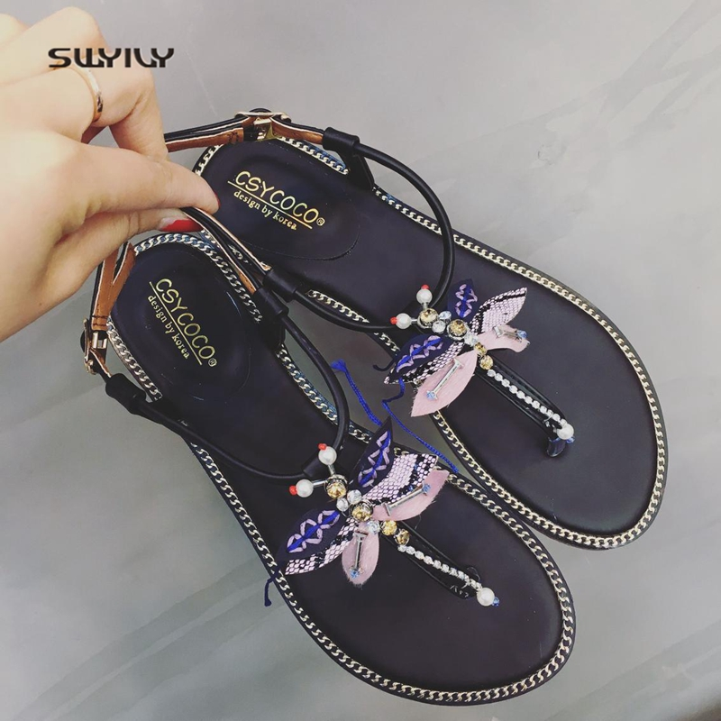 SWYIVY Woman Sandals Flip Flop Summer 2018 Female Bow Rhinstone Flat Bohemian Shoes Lady ...