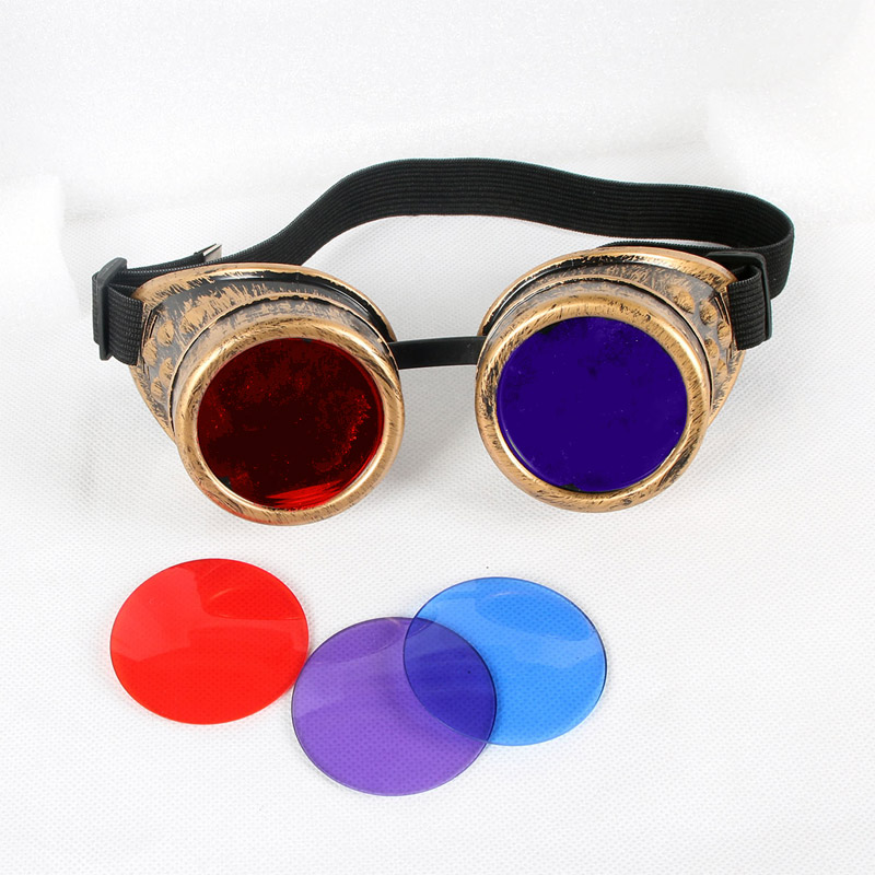 Steampunk Goggles Unisex Gothic Vintage Victorian Style  Punk Gothic Glasses Cosplay bronze frame7colour lens NEW fashion cyber goggles steampunk glasses vintage retro welding punk gothic victorian durable goggles glasses sunglasses 2016 hot sale