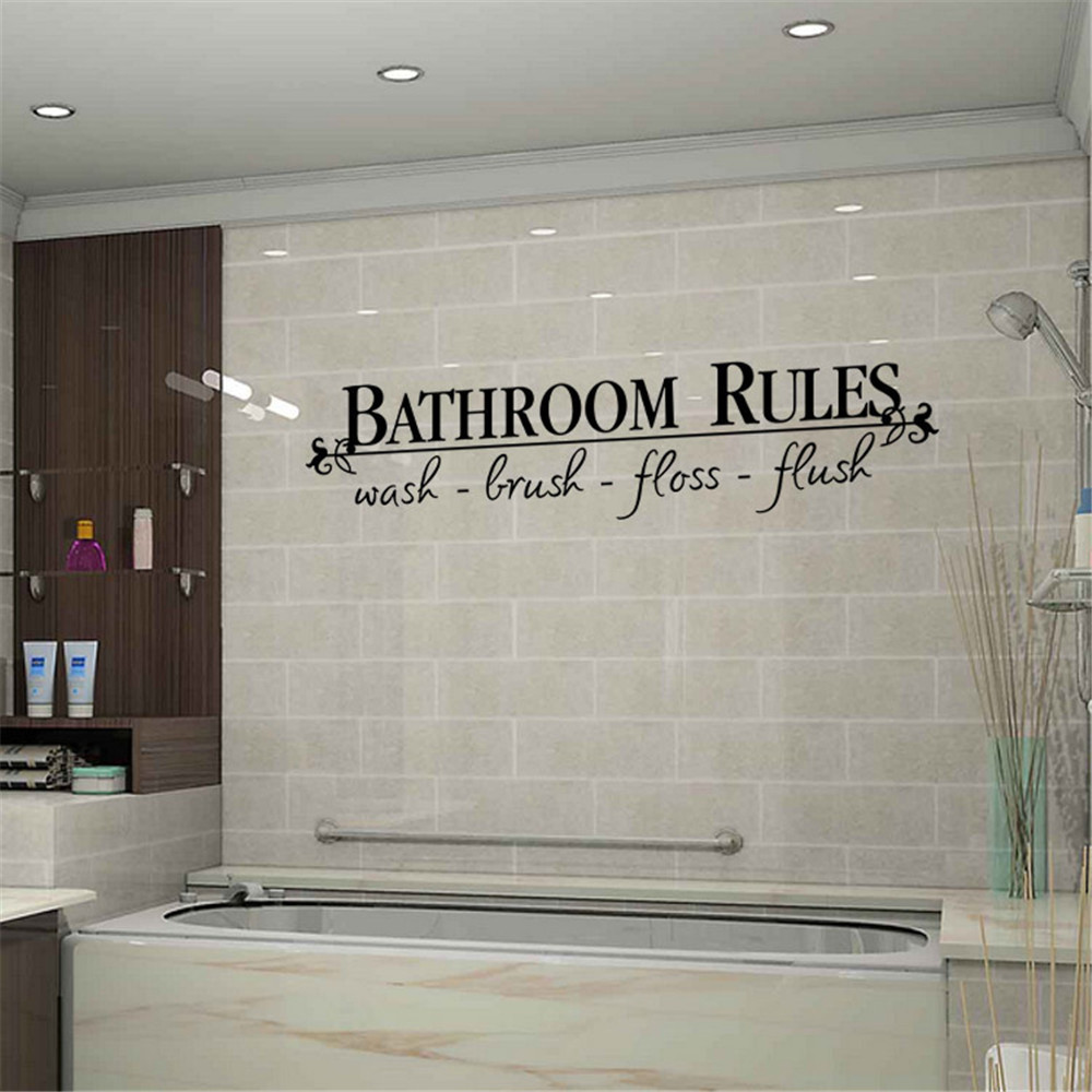 Permalink to Wall Sticker  BATHROOM RULES Wash Brush Floss Flush Quote Saying Wall Sticker For Bathroom Wall Decal  Wall Stickers Dropshpping