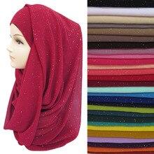 Hijab musulman en mousseline de soie, à paillettes dorées, écharpe, châle, enveloppement de tête, couleurs unies