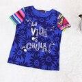 Catimini Camiseta de punto de manga larga Camiseta azul Francesa catimini nuevo estilo t camiseta de la muchacha camisetas de manga larga de la manga