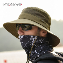 купить Summer Mesh Sun Bucket Hats for Men Women Flap Wide Brim Sun UV Protection Fishing Hat Hiking Quick Drying Cap Adjustable WH104 онлайн