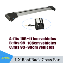 Partol 1x Silver Car Roof Rack Cross Bar Auto luggage Rack Boxes Roof Rail Anti-theft Lock System Universal For 93 99 105 111cm