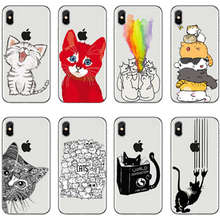 Cute Cat Phone Case For iPhone XS Max 6S 5 5S SE Soft TPU Silicon Transparent Cover 8  X Cases