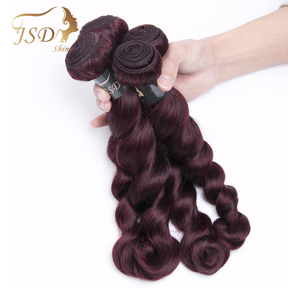 JSDshine Pre-Colored Loose Wave Mongolian Hair Weave Bundles 99j Red Wine Burgundy Non-Remy Human Hair Extensions 4 Piece