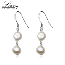 925 Sterling Silver Freshwater Pearl Earrings For Women,Natural Long Earring Jewelry Baroque