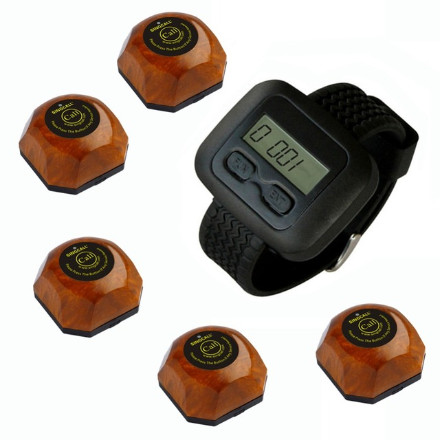 Garçom Sistema de paginação sem fio para o hospital, casa de assistência social e assim por diante, 5 botões e um relógio de madeira