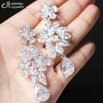 ASNORA Fashion Shiny Zircon Earrings for Women Bridal Earring Jewelry Wedding Accessories Earrings Girls' Bithday Gifts - DISCOUNT ITEM  40% OFF All Category