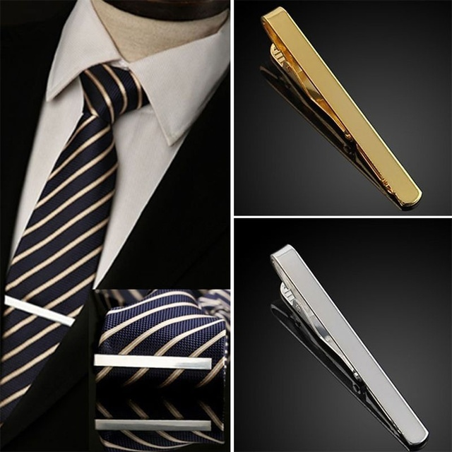 Practical Solid Color Gold Silver Chic Men Male Tie Clip Simple Style Alloy Bar Clasp Necktie