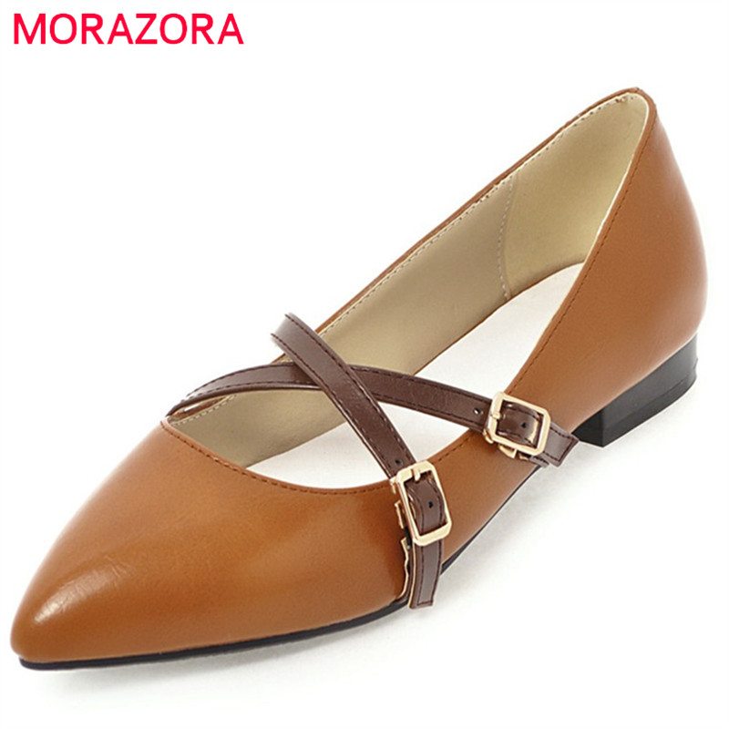 MORAZORA new fashion pointed toe 2018 summer spring mary janes shoes shallow slip on solid casual dress female flats 2017 new fashion spring summer boat shoes women candy color flats pointed toe slip on flat fashion casual plus size pu shoes