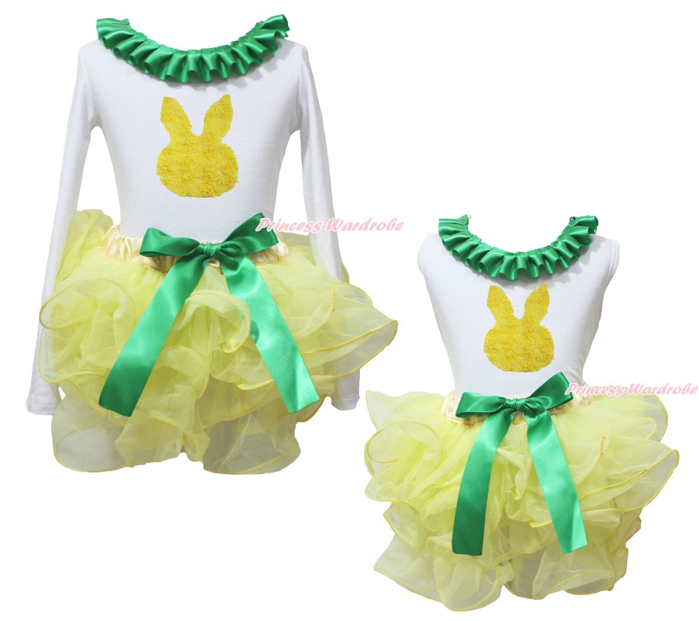 Easter Rose Bunny Rabbit White Top Yellow Girl Petal Pettiskirt Outfit Set NB-8Y
