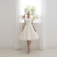 Wedding Dress 2017 Bridal 1950 S Vintage Lace Short 3 4 Sleeves Knee Length Low Back