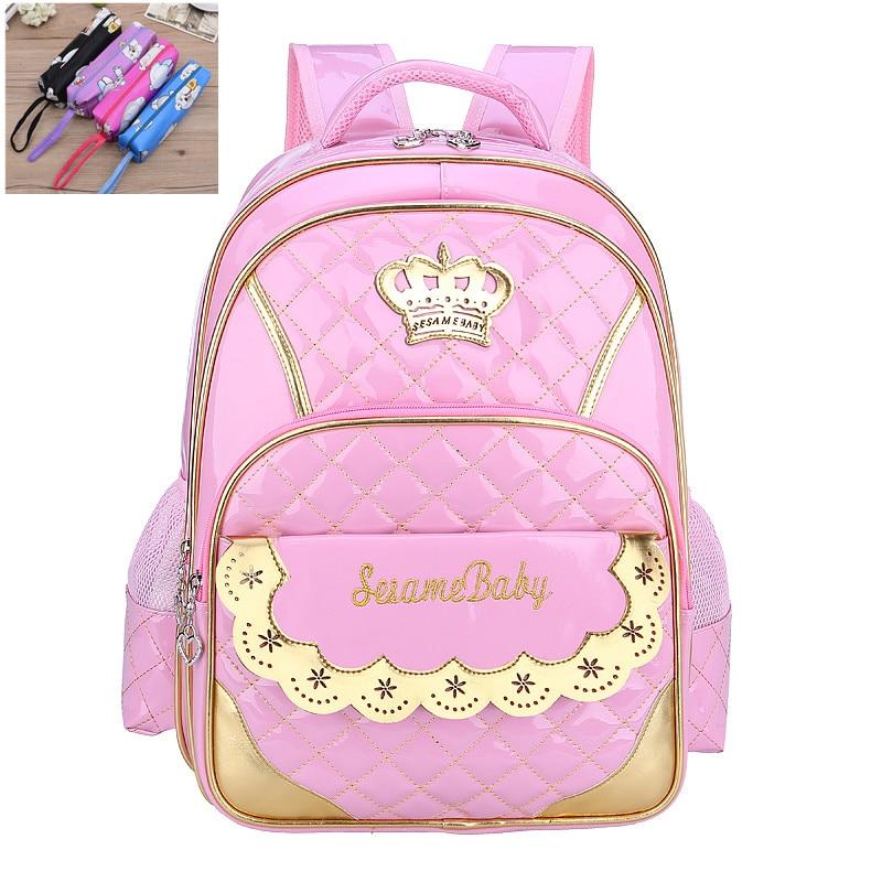 Kids Girls Princess Primary School Backpack Children Pink
