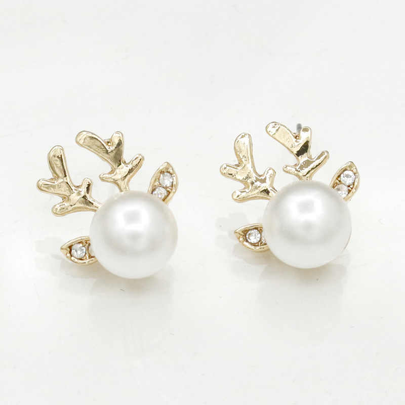 Cute Deer Golden Silver Antlers Big White Round Simulated Pearl Crystal Ear Stud Earrings for Women
