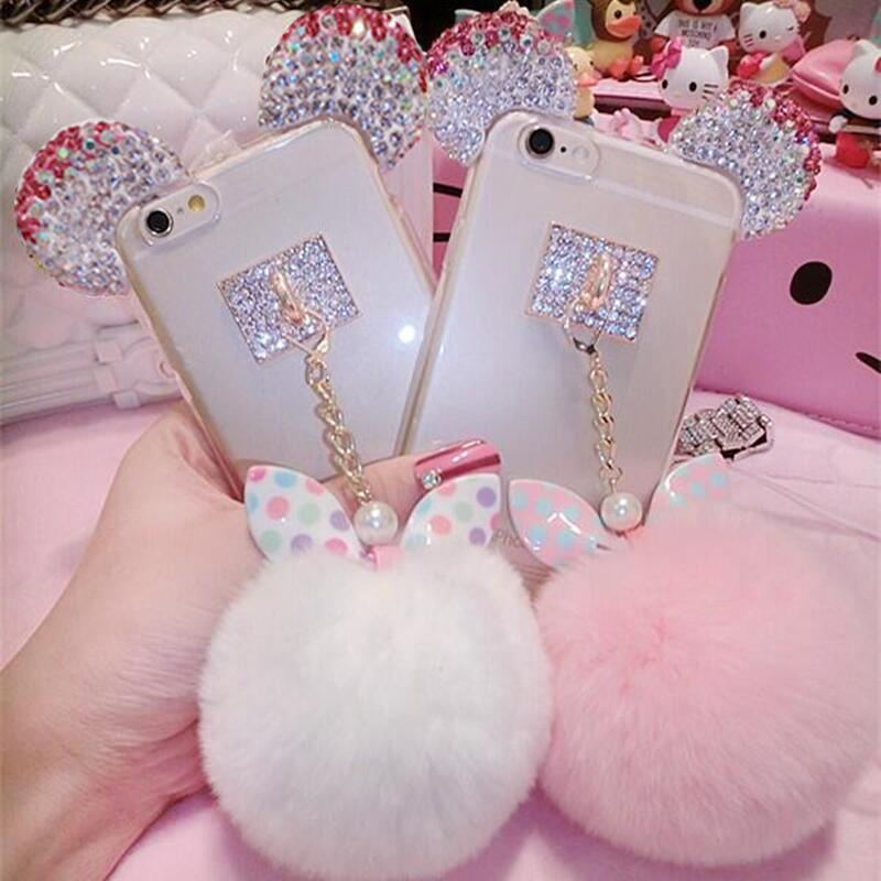 Crystal Mickey Ear Case Bowknot Fur Ball Phone Cases For iPhone 6 7/Samsung Note 3/4/5/S5/6/7edge/S8/S8plus/J5/7 USA Free gift