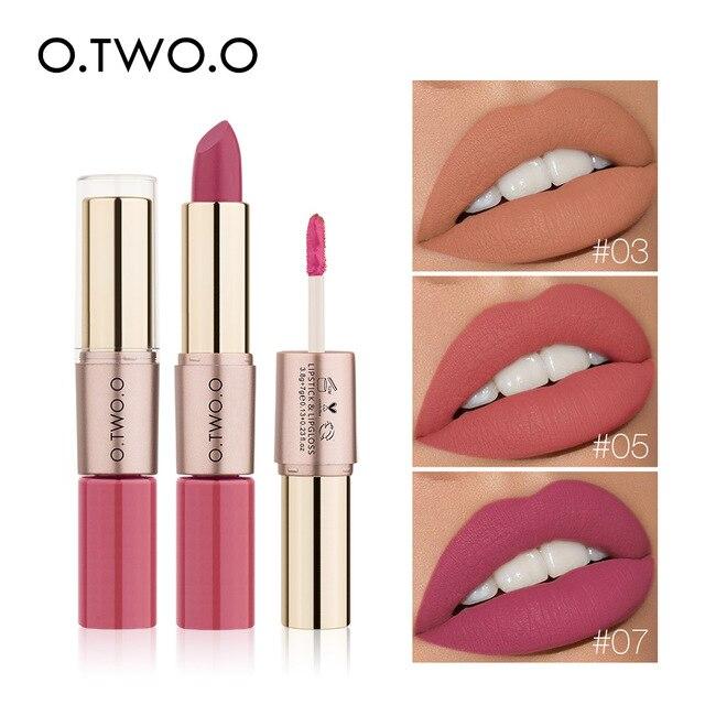 O.TWO.O 2 in 1 Matte liquid Lipstick and Matte Lip gloss Makeup Moisturizing Long Lasting Waterproof Velvet Lipstick 12 Color