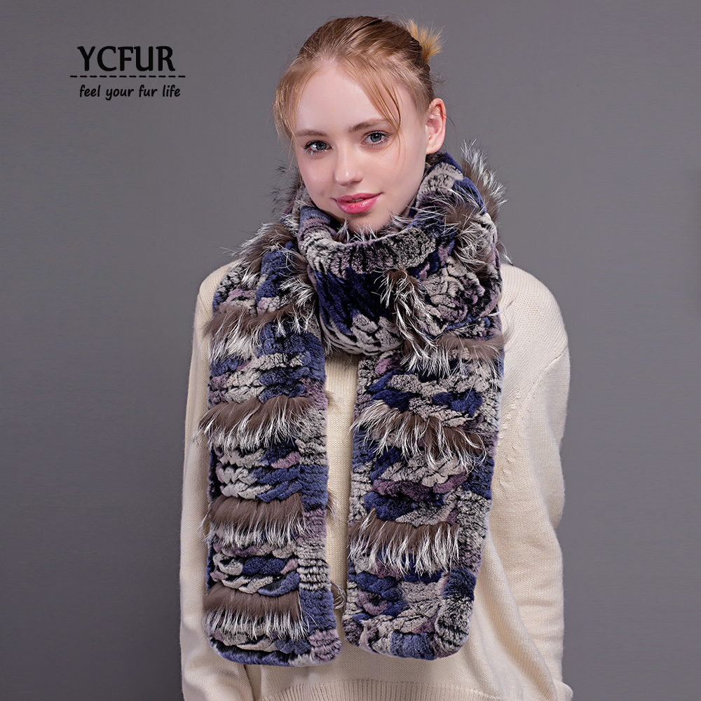 YCFUR Women   Scarves     Wraps   Winter Brand Design Knit Rex Rabbit Fur Long   Scarf   For Women Winter Warm Fur   Scarves   Shawls Female