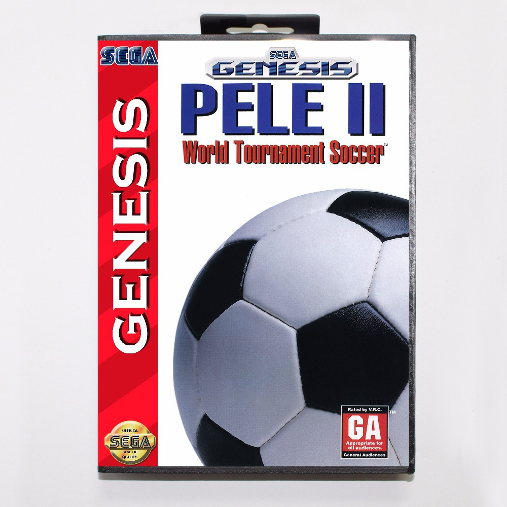 Pele 2 Game Cartridge 16 bit MD Game Card With Retail Box For Sega Mega Drive For Genesis
