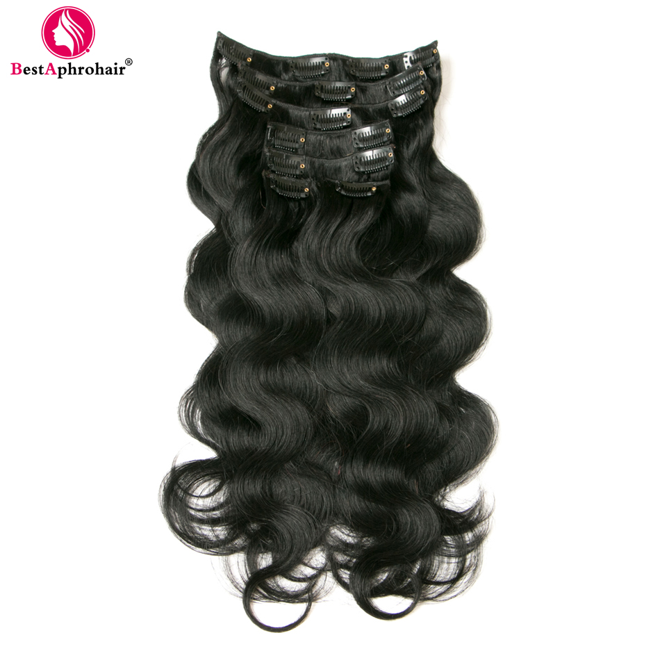 Aphro Hair Clip In Human Hair Extensions Non Remy Hair 7Pcs Set 100g Body Wave 16