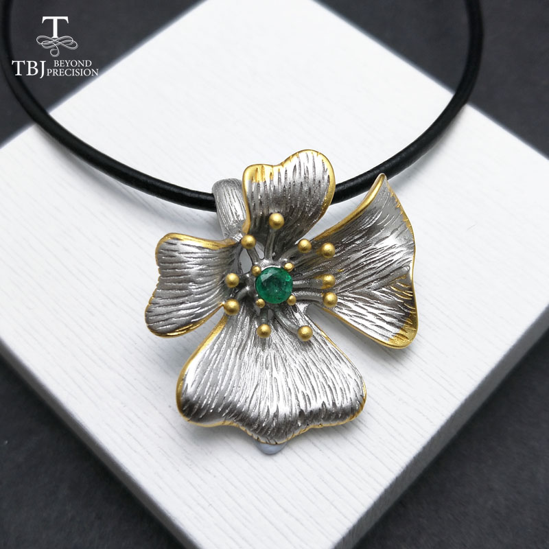 TBJ,Unique luxury flower pendant with natural Zambia emerald 925 sterling silver gemstone jewelry anniversary wedding party gift
