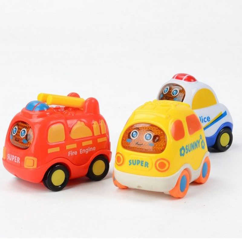 6 шт./компл. игрушечный автомобиль детская мультяшная игрушечная машинка инерционная задняя вертолет полицейский такси автобус скорой помощи детский подарок