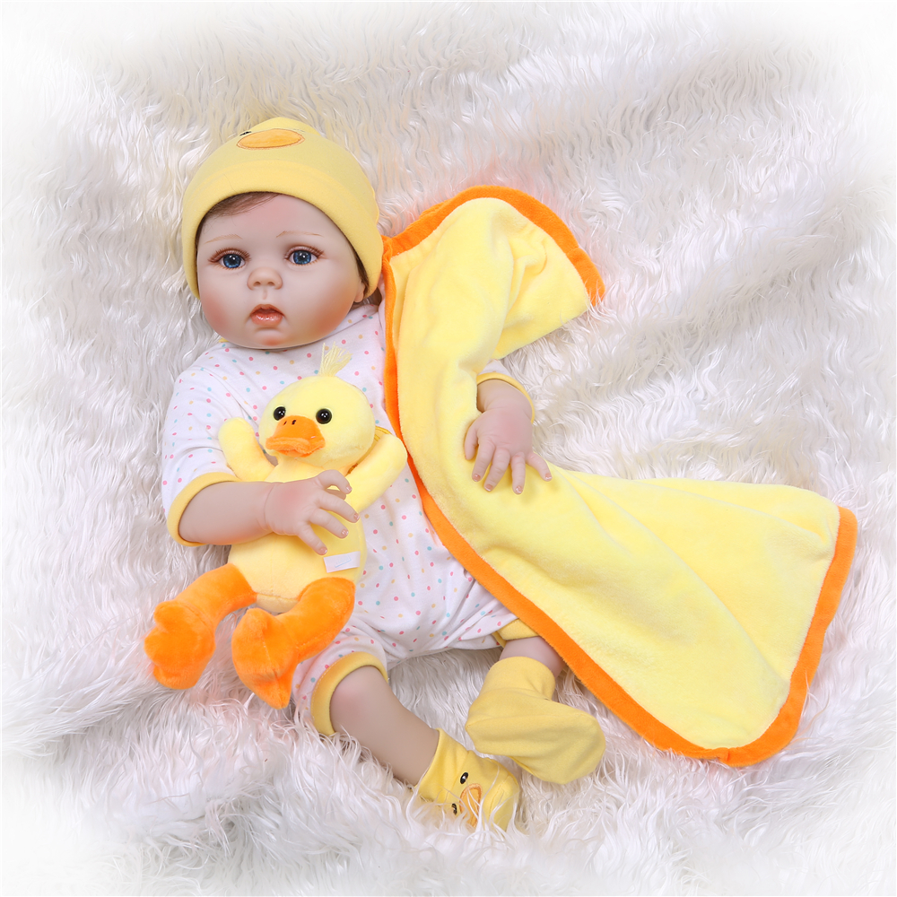 все цены на NPK 55cm full Silicone Reborn Dolls girl Baby Realistic Doll Reborn 22 Inch Full Vinyl Boneca BeBe Reborn Doll For Girls онлайн