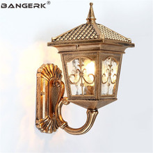 цена на European Waterproof Wall Lamps Vintage Bronze Aluminum Glass Outdoor LED Light Wall Sconce Garden Balcony Aisle Porch Lighting