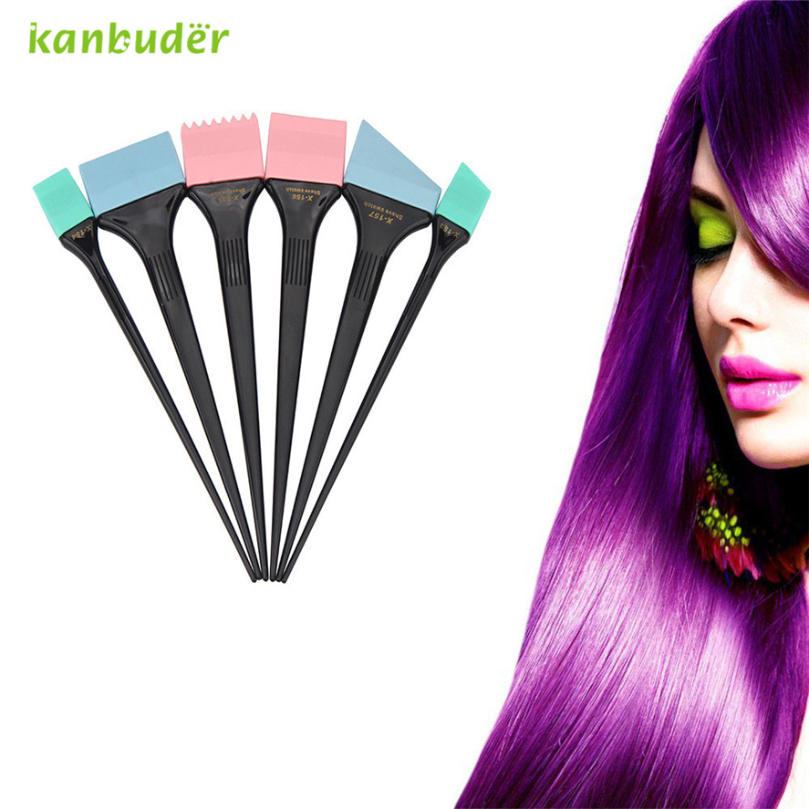 Kanbuder  High Quality Pretty Dye Hair Brush 6Pcs Large Hair Dye Colour Brushes Scraping Plates Hairdresser Salon Brush Kit